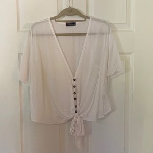 NWOT Harmony Cropped Tie-Front Top (White)